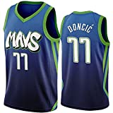 DIMOCHEN Movement Ropa Jerseys de Baloncesto para Hombres, NBA Dallas Mavericks 77# Luka Dončić, cómodo, Camiseta Uniformes Deportivos Tops(Size:XL,Color:G1)