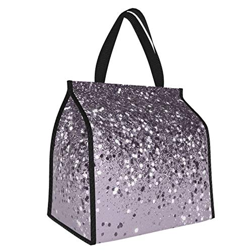 Sparkling Lavender Lady Glitter Shiny Decor Art Lunch Bag Lunch Box Tote Bag Cooler Tote Meal Prep Organizer Large Container Work and School Travel for Women, Men
