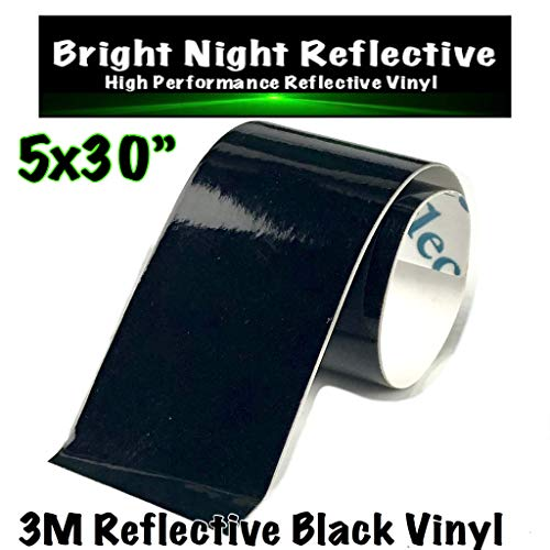 Bright Night Reflective 3M Motorcycle Helmet Safety Tape Decal Sticker Kit DYI (Black, 5x30)
