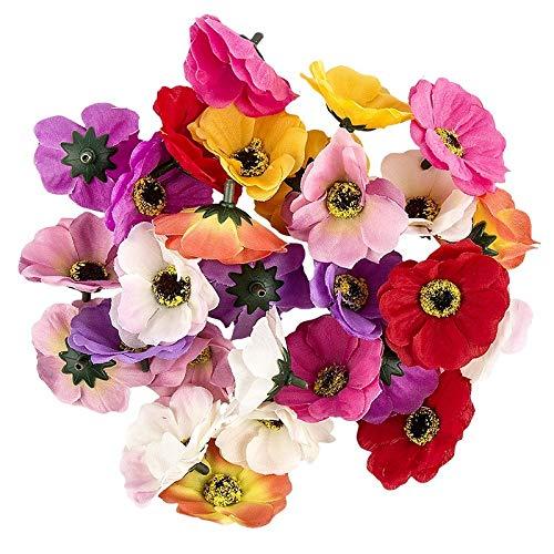 Ideen mit Herz Deko-Blüten, Kunstblumen, Blüten-Köpfe, Verschiedene Sorten, ca. Ø 4-5 cm (Anemone - bunt - 27 Stück)