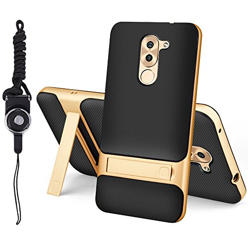 Huawei Honor 6X Case, Best Share Heavy Duty Protection Defender Hybrid Armor Dual Layers Grid Grain Back Cover with Kickstand & Lanyard, Gold