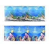 Jroyseter Antecedentes Acuario 3D Doble Cara del Fondo Pegatinas Fish Tank Fondo de Pantalla HD subacuático Decoración Cartel Coral Telón de Fondo Pegatina para el hogar del Acuario (A)