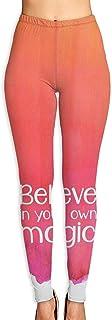 Pantalones de Yoga,Pantalones de Mujer Women's Yoga Pants Believe in Your Own Magic Elastic Workout Running Leggings Pants Autumn Trousers