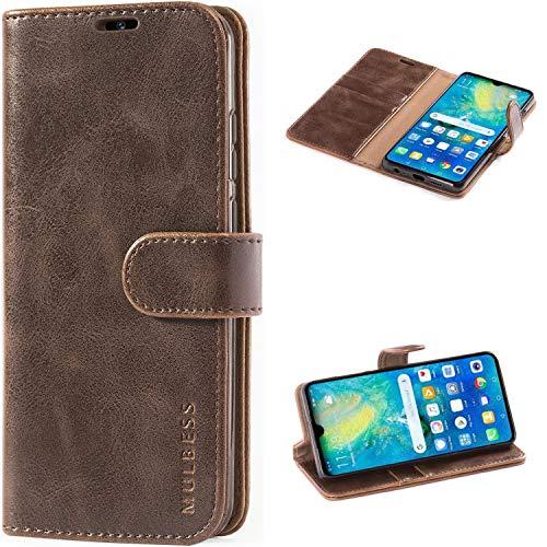 Mulbess Handyhülle für Huawei P30 Hülle, Leder Flip Hülle Schutzhülle für Huawei P30 Tasche, Vintage Braun