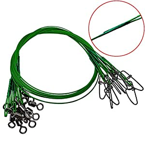 """30 PCS Fishing Wire Leader,19.68""""/150Lb Heavy Duty Tooth Proof Stainless Steel Fishing Leader Line with Rolling Swivels Insurance Snap Connect Tackle Lures Rig or Hooks…"""