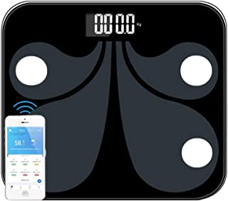 Bluetooth Bathroom Scales with Smartphone APP, Body Fat Scale with 24 Essential Measurements, Max Weight 400lbs/180kg, Black