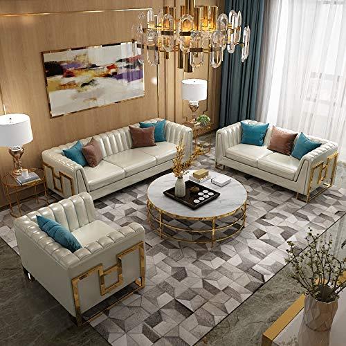 JVmoebel Chesterfield Edelstahl Couch Polster Sitz Garnitur Sofa 3+1 Wohnzimmer Leder