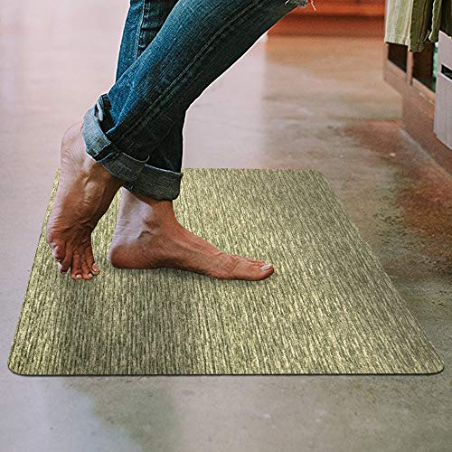 """Shape28 Floor Mat Ultra-Thin Kitchen Rug with Non Slip Rubber Backing 35""""x23"""", Mix Gray"""