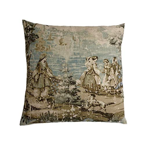 DKISEE Bosporus Flax 197 Toile Aqua Throw Pillow Cover, Home Decor, Euro, Sham, Lumbar Cover, Linen Like Textured Pillowcase 16x16 inches