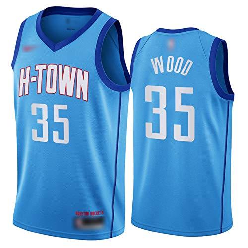 YDYL-LI Neue Saison Basketball Jersey Uniform Westen T-Shirts Raketen # 35 Christian Wood All-Star Training Trikots Sweatshirts Für Männer Teenager Junge, Atmungsaktiv,L