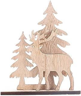 wuliLINL Mini Christmas Tree Wooden Desktop Christmas Tree with Snowman Reindeer Santa Xmas Tree Mini Festival Miniature Tree for Christmas Decoration