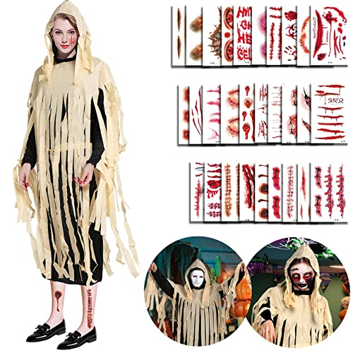Halloween kostüm damen , 3-teiliges set Halloween Zombie Kostüm Herren der dämonen mit kapuze, Rollenspiel für Erwachsene größe 160-185 cm , mit 30 halloween tattoo gruselig