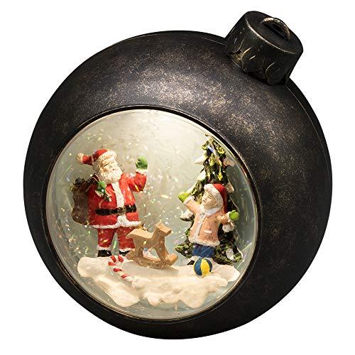 Konstsmide 4362-000 LED Escena de Papá Noel, Relleno de Agua, para Uso en Interiores (IP20), Funciona 3 Pilas AA 1,5 V (excl.) / Linterna de Navidad 1 Diodos Blanco Cálido, marrón, Santa