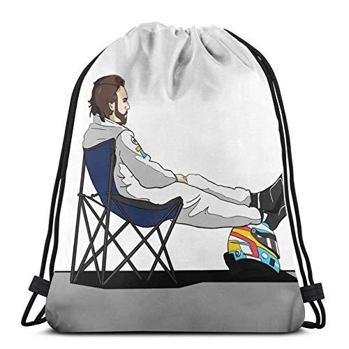 WH-CLA Cinch Bags Formel 1 - Fernando Alonso Liegestuhl Gym Kordelzug Taschen Drucken Sie Einzigartige Langlebige Shopping Sport Sporttasche Cinch Pack Männer Yoga Outdoor Kordelzug Rucks