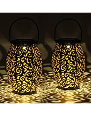 Gadgy Solarna Latarnia Zewnętrzna   Zestaw 2 sztuk Orientalne latarnie ogrodowe metalowe IP44 Wodoodporne   21,5 x 15 cm.   lampa podłogowa lub wisząca