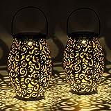 Set di 2 Lanterne solare ovali in metallo | per decorazioni da giardino | Lampada marocchina con effetto ombra | Sospensione impermeabile per esterno
