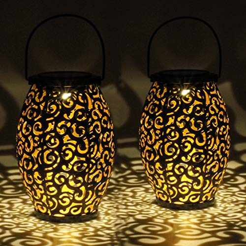 Gadgy Set de 2 lamparas solares ovales | para decoracion jardin exterior | Lampara marroqui con efecto de sombra | Decoración impermeable para colgar, mesas, terraza o piso