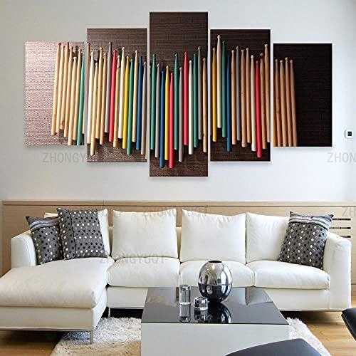 FGART Modular HD Lienzo Imagen 5 Piezas Cuadro sobre Arte Pared 5 Partes Modernos Mural Tambor de música Colorido Impresión Salón Decoración Frame Poster