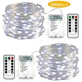 Lyhope 2 Pack 33ft 100 Led Fairy Lights, Battery Operated Waterproof 8 Modes with Remote Timer Twinkle Copper String Lights for Outdoor, Indoor, Wedding, Holiday, Valentine' Decor(Cool White)