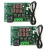 ZHITING 2PCS XH-W1219 Modulo termostato digitale DC 12V-50~110 ℃ Electronic Temperature Controller Board Switch Sonda sensore impermeabile Doppio display a LED Red+Re