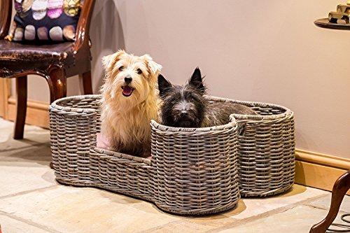 House of Paws Hundekorb/Hundebett aus Kubu-Rattan, Knochenform, GrößeM, Grau