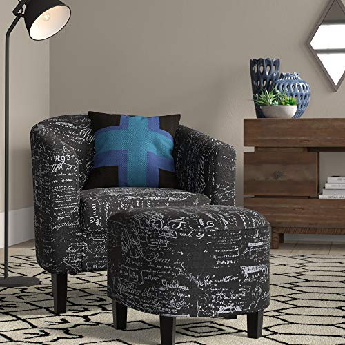 BELLEZE Accent Club Chair with Ottoman Modern Stylish Round Arms Curved Back French Print Script Linen Fabric, Black Pattern