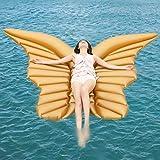 LIAN ala De áNgel Inflable Cama Flotante Mariposa Flotante ala áNgel Agua Unicornio Anillo De Natación Hoverboard Almohadilla 250cmx180cm/ Dorado