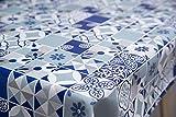 Mantel Hule Estampado Azulejos Azul y Blanco, Saudade Azul (140_x_100_cm)