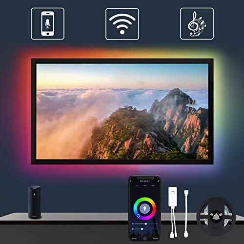 TV Hintergrundbeleuchtung Alexa, YU YUSING 2m USB Strip mit APP für 32-60 Zoll HDTV, RGB LED Streifen für PC Spieltisch, Kompatibel mit Alexa, Google Assistant(Unterstützt nur 2.4G WiFi)