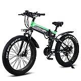WZW R5 1000W montaña Bicicleta Electrica 26 Pulgadas 4.0 Gordo Neumático Plegable Bicicleta eléctrica 48 V / 12,8 Ah Litio Batería Electrónico Bicicleta 21 Velocidad Engranajes por Adulto