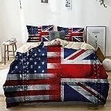 Juego de funda nórdica beige, tema de unión de la alianza Composición de banderas del Reino Unido y EE. UU. Vintage, juego de cama decorativo de 3 piezas con 2 fundas de almohada Fácil cuidado antialé