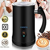 Milk Frother,CHINYA Electric Milk Frother with Hot or Cold Functionality, Foam Maker, Silver Stainless Steel, Automatic Milk Frother and Warmer for Coffee, Cappuccino and Macchiato (Black)