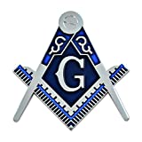 Square & Compass Masonic Auto Emblem - [Silver & Blue][3'' Tall]