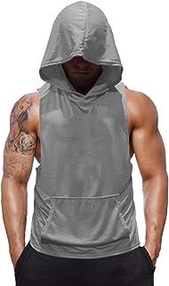 SZKANI Mens Sleeveless Hoodie Fitness Vest Bodybuilding Stringers Workout Tank Tops
