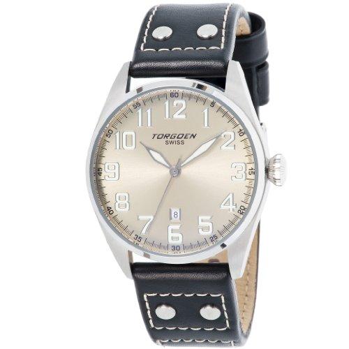 Torgoen Herren-Armbanduhr Analog Leder schwarz T28102