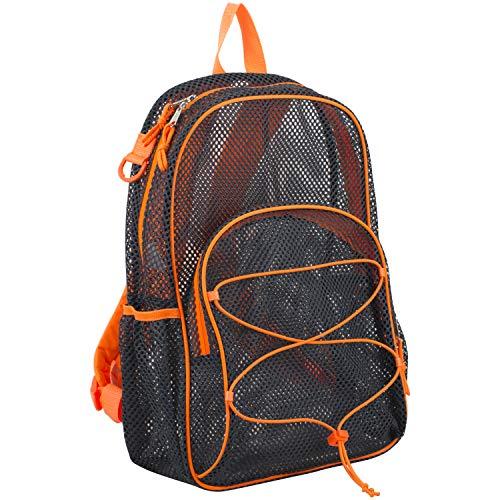 Eastsport Mesh Bungee Backpack With Padded Shoulder Straps, Graphite/Blaze Orange