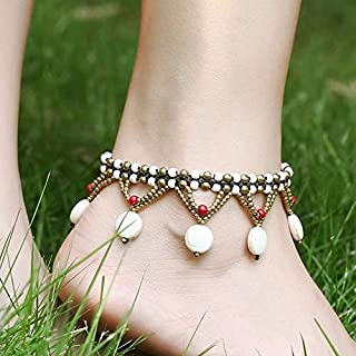 Women Jewelry Anklets - Vintage Turquoise Beads Braided Rope Copper Bell Anklet - White -1 X AnkletNotice: 1.Due to the difference between different monitors the picture may not reflect the