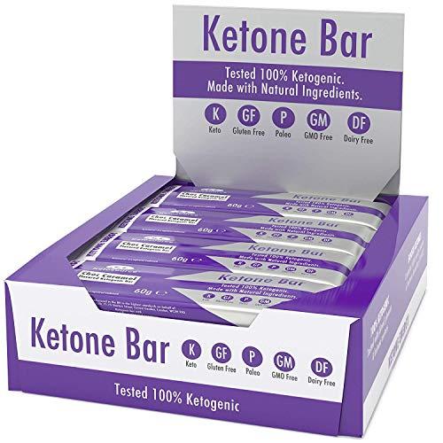 Ketone Bar (Schachtel mit 12 Bars) | Ketogener Imbiss | Enthält Ketone, die reines C8-MCT | Paleo & Keto | Glutenfrei | Schokoladen-Karamell-Geschmack | Ketosource®