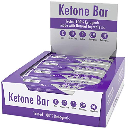 Ketone Bar (Scatola da 12 barrette) | Snack Bar chetogenico | Contiene Ketone Boosting Pure C8 MCT | Paleo & Keto Friendly | Senza glutine | Sapore di caramello al cioccolato | Ketosource