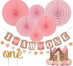 FIRST BIRTHDAY DECORATION SET FOR GIRL 1st Baby Birthday Party Stars Paper Garland Gold Cake TopperOne Pink Banner Fiesta Hanging Fan
