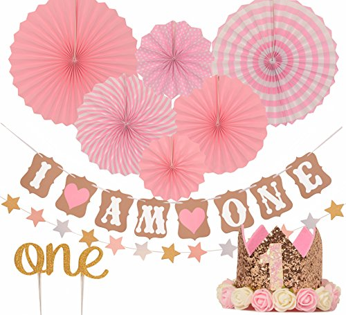 First Birthday Decoration Set For Girl 1st Baby Girl Birthday Party Stars Paper Garland Gold Cake Topper One Pink Banner Pink Fiesta Hanging Paper Fan Flower Pink Baby Hat Pink Buy Online In