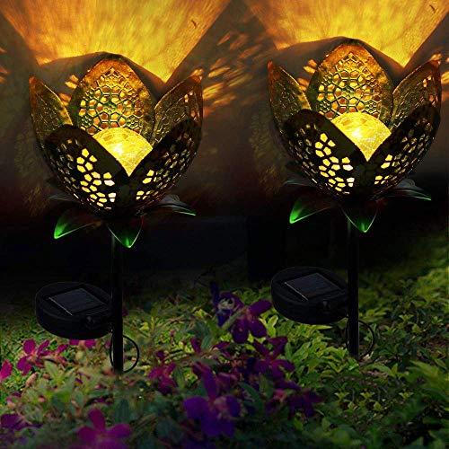 ALLOMN Solarleuchten Garten im Freien, 2 Stck Draussen Weg Dekorative Lampe Leuchtet Solar Landschaft Lichter IP65 Wasserdicht Pfad Rasen Hof Garten Lampen Hübsche...