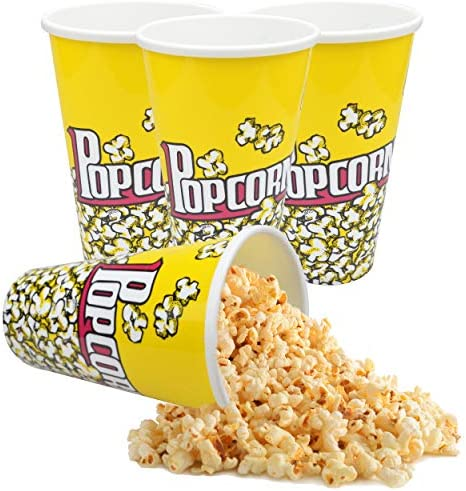 Plastic Popcorn Bowl Popcorn Buckets Reusable for Popcorn Containers Movie Night Retro Style product image