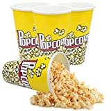 """Plastic Popcorn Bowl Popcorn Buckets Reusable for Popcorn Containers Movie Night Retro Style Popcorn Bags for Popcorn Machine-6.92"""" Tall x 4.52"""" Top Diameter,BPA-Free (4 Pack)"""