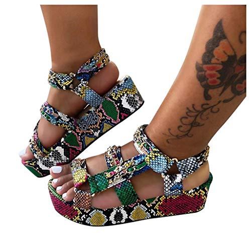 Sunhusing Platform Sandals Women's Open Toe Multicolor Snakeskin Printed Bandage Buckle Thick Bottom Sandals(Multicolor,40)
