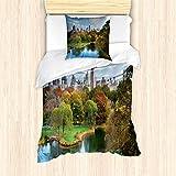 ABAKUHAUS Nueva York Funda Nórdica, Central Park Otoño, Decorativo, 2 Piezas con 1 Funda de Almohada, 135 x 200 cm, Multicolor