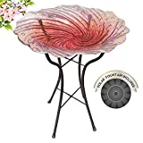 Grateful Gnome - Bird Bath - Hand Painted Glass - Radiant Reflection - 18 inch Bird Bath with 22 inch Tall Metal Stand - Includes A Free Solar Fountain