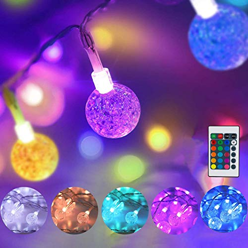 Coloured Globe Fairy Lights USB Plug,16 Colour Changing Crystal Ball String Lights 16.4ft 50 LED Festival Lights with Remote Timer Garden Lights for Girls Bedroom Party Xmas Outdoor Halloween Decor