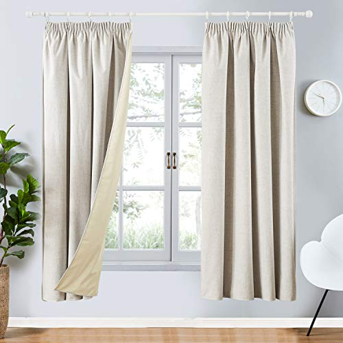 Topfinel Cortinas opacas, color crema, gris, supersuave, tratamiento térmico, con aislamiento térmico, plisado, para sala de estar, 46 x 72, 2 paneles