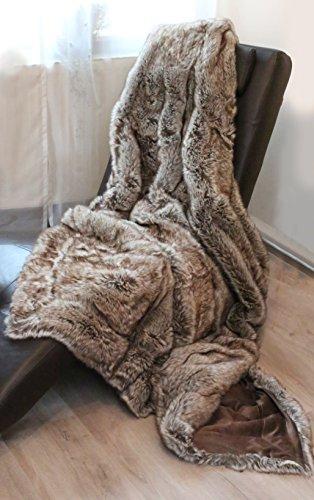 Quantum Interior Fell Wende Decke in Felloptik Fellimitat - Sibirischer Wolf - Acryl ca150x200